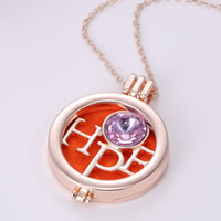 Perfume Locket Necklace, Zinc Alloy, with Cotton & Crystal, with 2lnch extender chain, Flat Round, word hope, rose gold color plated, oval chain & faceted, nickel, lead & cadmium free, 35mm, Length:Approx 23 Inch, 3Strands/Lot, Sold By Lot