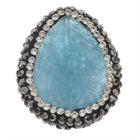 Natural Blue Agate Beads, with Rhinestone Clay Pave, Teardrop, 23x30x6mm, Hole:Approx 1mm, 5PCs/Bag, Sold By Bag