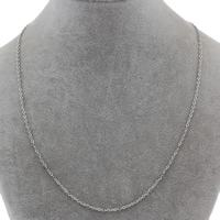 Stainless Steel Chain Necklace, oval chain, original color, 2x3x0.20mm, Sold Per Approx 18 Inch Strand