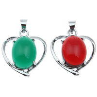 Brass Heart Pendants, with Resin, platinum color plated, imitation gemstone, more colors for choice, lead & cadmium free, 18x22x7mm, Hole:Approx 4mm, Sold By PC