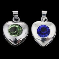 Brass Heart Pendants, with Glass, platinum color plated, faceted, more colors for choice, lead & cadmium free, 13x17x6mm, Hole:Approx 4mm, Sold By PC