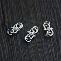 925 Sterling Silver S Hook Clasp, 9x14mm, Hole:Approx 3mm, 6PCs/Lot, Sold By Lot