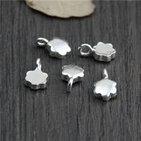 Кулоны из серебра, Серебро 925 пробы, Форма цветка, 6.60x11.40mm, отверстие:Приблизительно 2mm, 10ПК/Лот, продается Лот