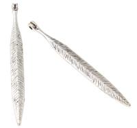 Sinkkiseos Feather riipukset, Sulka, antiikki hopea päällystetty, lyijy ja sen kadmium vapaa, 6x57x2mm, Reikä:N. 1mm, 100G/laukku, Myymät laukku