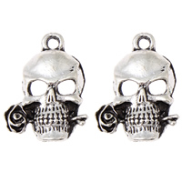 Zinc Alloy Skull Pendants, antique silver color plated, lead & cadmium free, 16x23x4mm, Hole:Approx 2mm, 100G/Bag, Sold By Bag