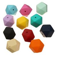 Силиконовые шарики, Силикон, Одобрение FDA, Много цветов для выбора, 17x17x17mm, отверстие:Приблизительно 2mm, 50ПК/сумка, продается сумка