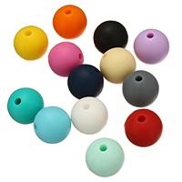 Силиконовые шарики, Силикон, Круглая, Одобрение FDA, Много цветов для выбора, не содержит никель, свинец, 12mm, отверстие:Приблизительно 2mm, 100ПК/сумка, продается сумка