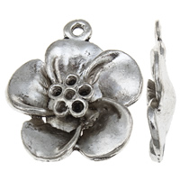Zinc Alloy Pendant Rhinestone Setting Flower antique silver color plated lead   cadmium free 23x25x5mm Hole:Approx 2mm Inner Diameter:Approx 1mm 100G/Bag