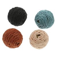 Тканые бисер, Нейлоновый шнурок, с деревянный, Круглая, Связанный вручную, Много цветов для выбора, 22x21mm, отверстие:Приблизительно 3mm, 100ПК/сумка, продается сумка