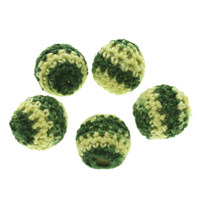 Woven Beads, Wool, with Plastic, Round, handmade, green, 15mm, Hole:Approx 3mm, 100PCs/Bag, Sold By Bag