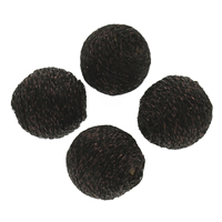 Woven Beads, Nylon, with Plastic, Round, handmade, black, 18mm, Hole:Approx 2mm, 100PCs/Bag, Sold By Bag