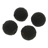 Woven Beads, Nylon, with Wood, Round, handmade, large hole, black, 22x21mm, Hole:Approx 4mm, 100PCs/Bag, Sold By Bag