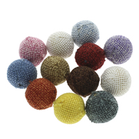 Woven Beads, Linen Cotton, with Wood, Round, handmade, large hole, mixed colors, 20x19mm, Hole:Approx 5mm, 100PCs/Bag, Sold By Bag
