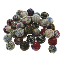 Woven Beads, Linen Cotton, with Plastic, Round, handmade, mixed colors, 14-16mm, Hole:Approx 2mm, 100PCs/Bag, Sold By Bag