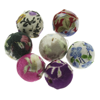 Woven Beads, Linen Cotton, with Wood, Round, handmade, mixed colors, 14mm, Hole:Approx 2mm, 100PCs/Bag, Sold By Bag