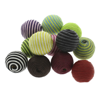 Woven Beads, Waxed Linen Cord, with Wood, Round, handmade, large hole, mixed colors, 22x20mm, Hole:Approx 4mm, 100PCs/Bag, Sold By Bag