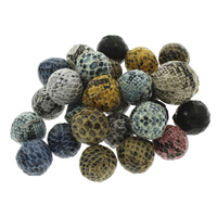 Woven Beads, PU, with Plastic, Round, handmade, mixed colors, 20mm, Hole:Approx 3mm, 100PCs/Bag, Sold By Bag