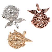 Pregnant Ball Locket Pendant, Brass, Wing Shape, plated, hollow, more colors for choice, lead & cadmium free, 28x26x20mm, Hole:Approx 4x7mm, Sold By PC