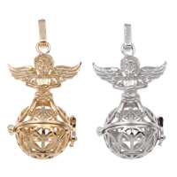 Pregnant Ball Locket Pendant, Brass, Wing Shape, plated, hollow, more colors for choice, lead & cadmium free, 27x44x21mm, Hole:Approx 4x7mm, Sold By PC