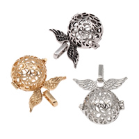 Pregnant Ball Locket Pendant, Brass, Wing Shape, plated, hollow, more colors for choice, lead & cadmium free, 29x27x20mm, Hole:Approx 4x7mm, Sold By PC