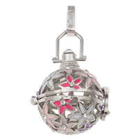 Pregnant Harmony Ball Pendant, Brass, Round, platinum color plated, enamel & with rhinestone & hollow, lead & cadmium free, 25x27x22mm, Hole:Approx 4x7mm, Sold By PC