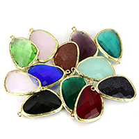 Brass Jewelry Pendants, gold color plated, different materials for choice & faceted, nickel, lead & cadmium free, 23x35x7mm, Hole:Approx 1.5mm, 20PCs/Lot, Sold By Lot