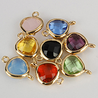 Glass Connector, Brass, with Glass, Triangle, gold color plated, faceted & 1/1 loop, more colors for choice, nickel, lead & cadmium free, 11x17x4mm, Hole:Approx 1mm, 50PCs/Lot, Sold By Lot