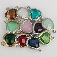 Glass Connector, Brass, with Glass, Heart, plated, faceted & 1/1 loop, more colors for choice, nickel, lead & cadmium free, 14x22x6mm, Hole:Approx 1mm, 50PCs/Lot, Sold By Lot