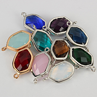 Glass Connector, Brass, with Glass, Hexagon, plated, faceted & 1/1 loop, more colors for choice, nickel, lead & cadmium free, 13x25x6mm, Hole:Approx 1mm, 50PCs/Lot, Sold By Lot