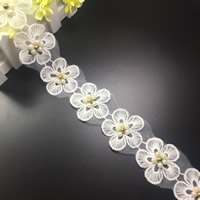 Lace Trim, Polyester, with Plastic Pearl, Flower, white, 50mm, 75Yards/Lot, Sold By Lot