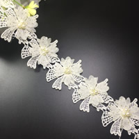 Lace Trim, Polyester, with Plastic Pearl, Flower, with rhinestone, 60mm, 75Yards/Lot, Sold By Lot