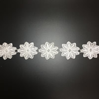 Lace Trim, Polyester, Flower, white, 60mm, 75Yards/Lot, Sold By Lot
