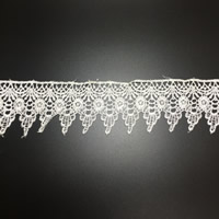Lace Trim, Polyester, white, 60mm, 75Yards/Lot, Sold By Lot