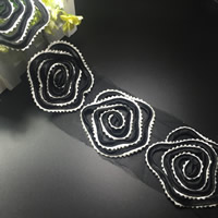 Lace Trim, Polyester, Flower, black, 80mm, 75Yards/Lot, Sold By Lot