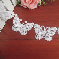 Lace Trim, Polyester, Butterfly, white, 50mm, 75Yards/Lot, Sold By Lot