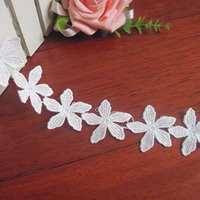 Lace Trim, Polyester, Flower, white, 45mm, 75Yards/Lot, Sold By Lot