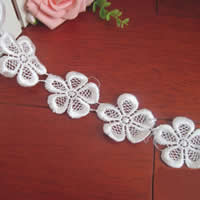 Lace Trim, Polyester, Flower, white, 40mm, 75Yards/Lot, Sold By Lot