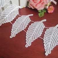 Lace Trim, Polyester, Leaf, white, 80mm, 75Yards/Lot, Sold By Lot
