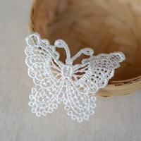 Fashion Decoration Flowers, Polyester, Butterfly, white, 68x50mm, 100PCs/Lot, Sold By Lot