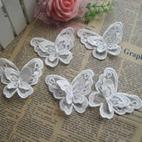 Fashion Decoration Flowers, Polyester, Butterfly, white, 70x60mm, 100PCs/Lot, Sold By Lot