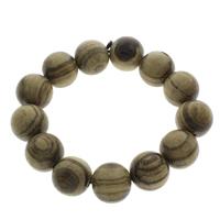 Персиковое дерево браслет, с Эластичный Шнур капроновый, Круглая, оригинальный цвет, 18mm, длина:Приблизительно 7 дюймовый, 5пряди/сумка, продается сумка