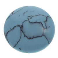 Синтетическая бирюза кабошон, Плоская круглая форма, плоской задней панелью, голубой, 21x4mm, 50ПК/сумка, продается сумка