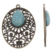 Zinklegering platte ovale hangers, Zinc Alloy, met Synthetische Turquoise, Plat Ovaal, antiek brons plated, lood en cadmium vrij, 45x64x7mm, Gat:Ca 3mm, Verkocht door PC