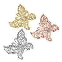 Cubic Zirconia Micro Pave Brass Connector Butterfly plated micro pave cubic zirconia   multi loops nickel lead   cadmium free 48x39.50x8mm Hole:Approx 7x1mm 5PCs/Lot