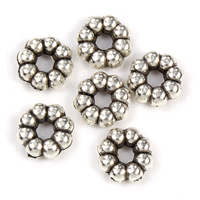 Zinc Alloy Spacer Beads Flower antique silver color plated lead   cadmium free 7x3mm Hole:Approx 1mm 100G/Bag