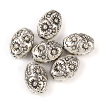 Zinc Alloy Jewelry Beads Flat Oval antique silver color plated lead   cadmium free 6x8x4mm Hole:Approx 1mm 100G/Bag