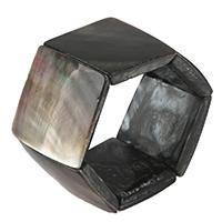 Черная ракушка браслет, Квадратная форма, натуральный, 33x35-33-35x6-8mm, длина:Приблизительно 8 дюймовый, 3пряди/Лот, продается Лот