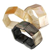 Браслеты из ракушек , Ракушка, Квадратная форма, натуральный, различные материалы для выбора, 25-26x25-26x6-7mm, длина:Приблизительно 8 дюймовый, 3пряди/Лот, продается Лот