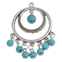 Turquoise Pendant, Zinc Alloy, antique silver color plated, lead & cadmium free, 36x56x8mm, Hole:Approx 2mm, Sold By PC