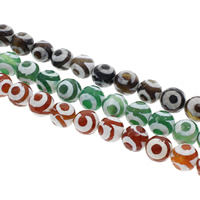 Tibetan Agate Beads, Round, different size for choice, more colors for choice, Hole:Approx 1.5mm, Length:Approx 14.5 Inch, Sold By Bag